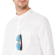 Long Sleeve Solid Woven Shirt - White