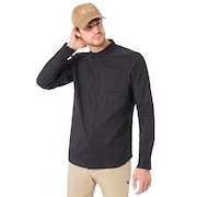 Long Sleeve Solid Woven Shirt - Blackout
