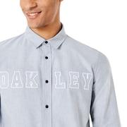 Icon Oxford Logo LS Shirt - Stone Gray