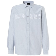 Icon Oxford Logo LS Shirt - Stone Gray