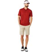 Polo Short Sleeve Bomber Collar - Iron Red