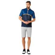 Polo Shirt Short Sleeve Color Block Camou - Fathom
