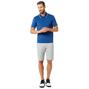 Polo Shirt Short Sleeve Ribbed Detailong Sleeve - Dark Blue