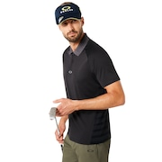 Polo Shirt Short Sleeve Back Striped - Blackout