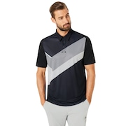 Polo Shirt Short Sleeve Placed Collar Block - Blackout