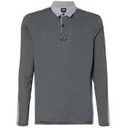 Polo Shirt Long Sleeve Striped - Athletic Heather Gray