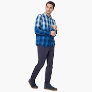 Gradient Check Long Sleeve Shirt - Dark Blue
