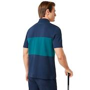 Color Block Polo Short Sleeve - Foggy Blue