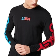 USA Star Long Sleeve Tee - Blackout