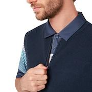 Light Knit Half Zip Vest - Foggy Blue