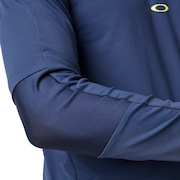 Engineered Insert Long Sleeve Polo - Foggy Blue