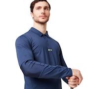 Engineered Insert Long Sleeve Polo - Foggy Blue