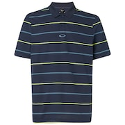 Piquet Striped Polo - Foggy Blue