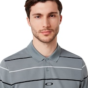 Piquet Striped Polo - Steel Gray