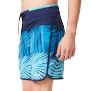 Palm Geometric Print Boardshort 19'' - Atol Blue Palm