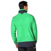 Skull Mottled Fleece Jacket - Neon Light Green