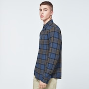 Checked Woven Long Sleeve Shirt 1 - Blue Heather - Olive Check