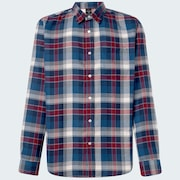 Checked Woven Long Sleeve Shirt 3 - Blue Heather - Olive Check