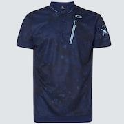Skull Liquid Polo - Blue Storm Print