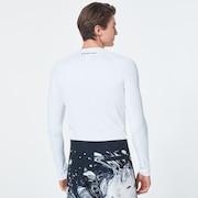 Color Block LS Rashguard - White Marble Print
