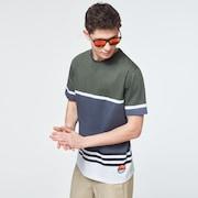Striped 1975 Short Sleeve Tee - Dark Brush Color Block