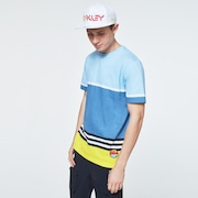 Striped 1975 Short Sleeve Tee - Blue Yellow Color Block