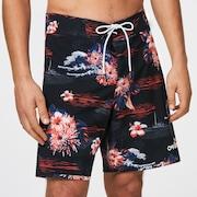 Tropical Bloom 18 Boardshort - Black Hawai
