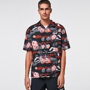 Tropic Bloom SS Button Down - Black Hawai