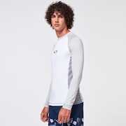 Color Block LS Rashguard - White