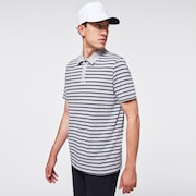 Striped Piquet Polo - Fog Gray