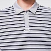 Striped Piquet Polo - Fog Gray