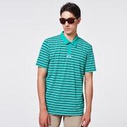 Striped Piquet Polo - Ocean Green